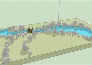 小桥假山驳岸石SU(草图大师)模型