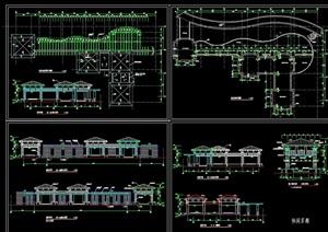 中式园林景观节点亭廊设计cad施工图