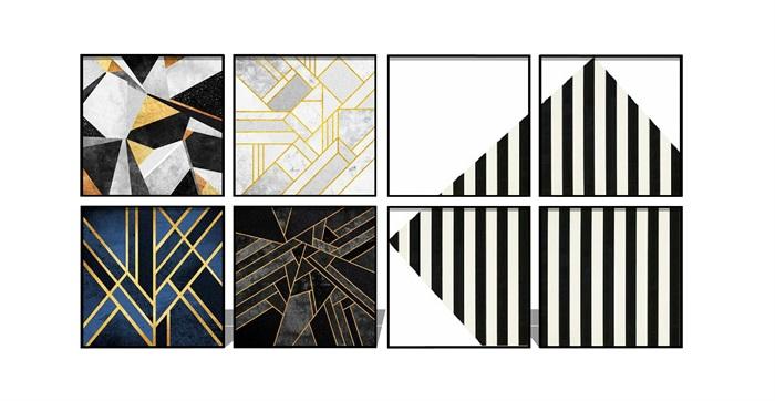 现代抽象 装饰画 挂画su模型(3)