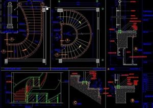 酒店旋转楼梯设计cad详图