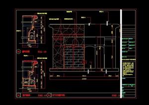 美式别墅壁炉设计cad详图