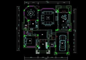三层别墅平面cad方案图