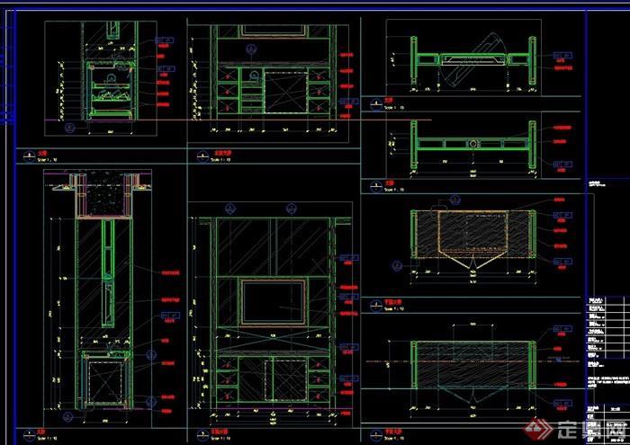 酒店电视柜设计cad详图