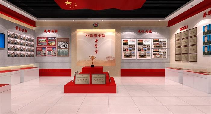 武警部队荣誉展厅设计3D模型及效果图(1)