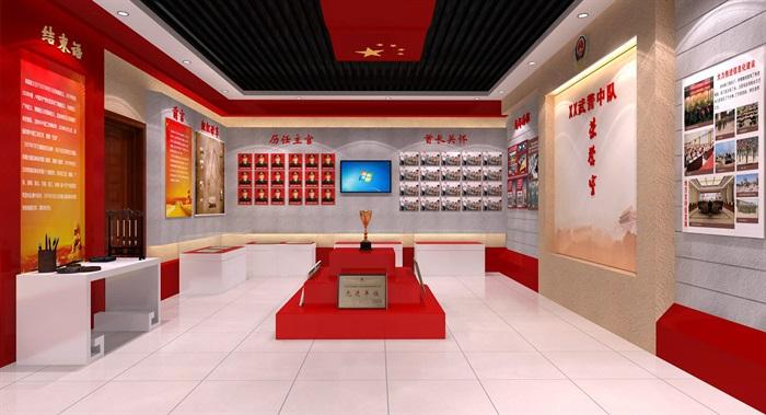 武警部队荣誉展厅设计3D模型及效果图(2)