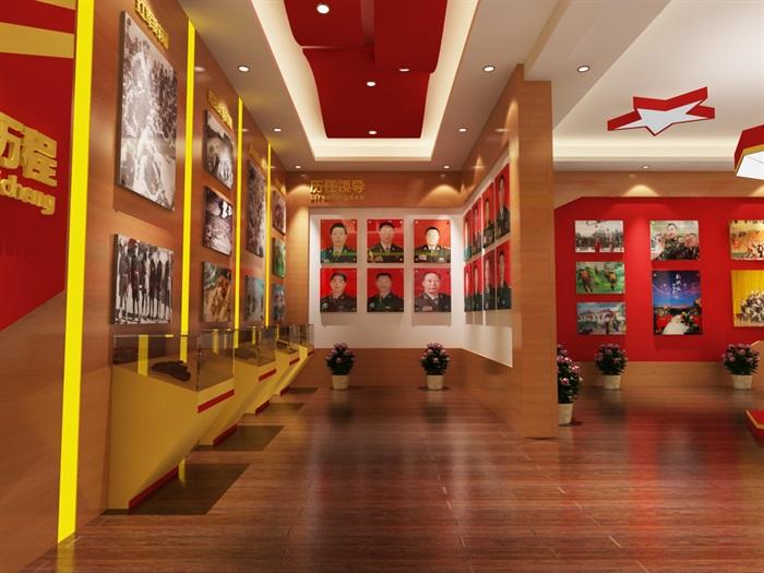 军队、部队荣誉展厅设计3D模型及效果图(5)