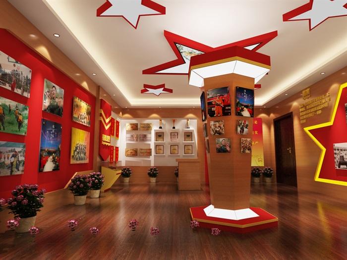 军队、部队荣誉展厅设计3D模型及效果图(7)