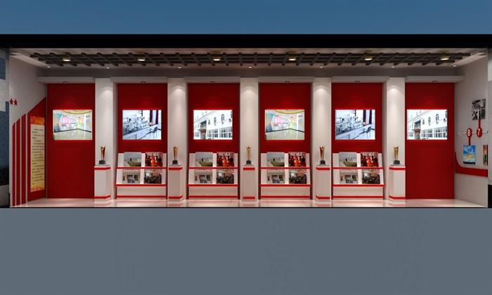 徽派党建荣誉展厅室内外设计3D模型及效果图(3)
