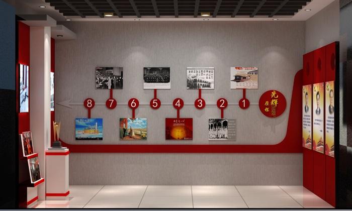 徽派党建荣誉展厅室内外设计3D模型及效果图(5)