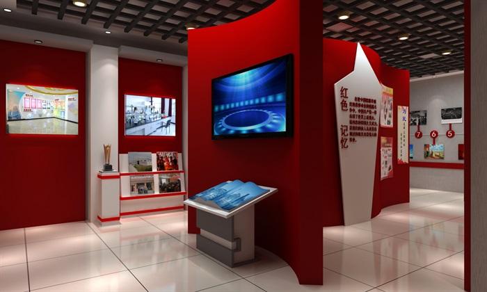 徽派党建荣誉展厅室内外设计3D模型及效果图(7)