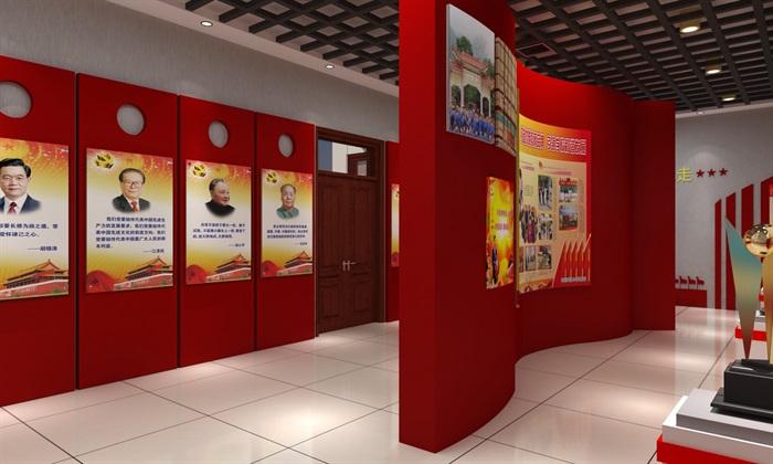 徽派党建荣誉展厅室内外设计3D模型及效果图(8)