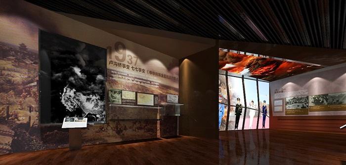 军服展厅、展览馆3D模型及效果图(4)