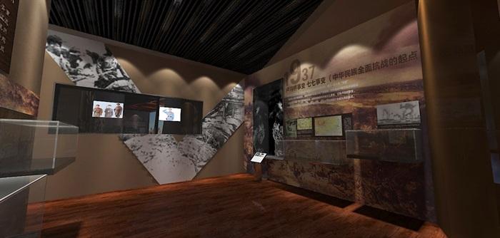 军服展厅、展览馆3D模型及效果图(6)