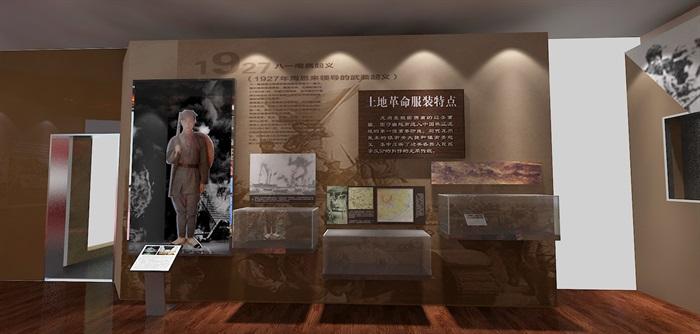 军服展厅、展览馆3D模型及效果图(12)