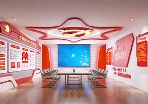 小型党建荣誉展厅3D模型与效果图