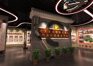 中式党建创业发展中心荣誉展厅设计方案3D模型