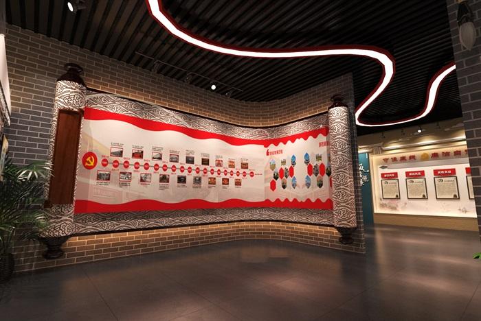 中式党建创业发展中心荣誉展厅设计方案3D模型(3)