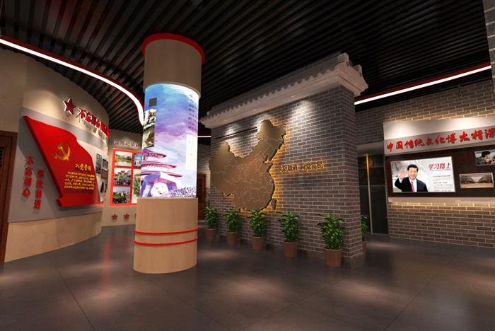 中式党建创业发展中心荣誉展厅设计方案3D模型(8)
