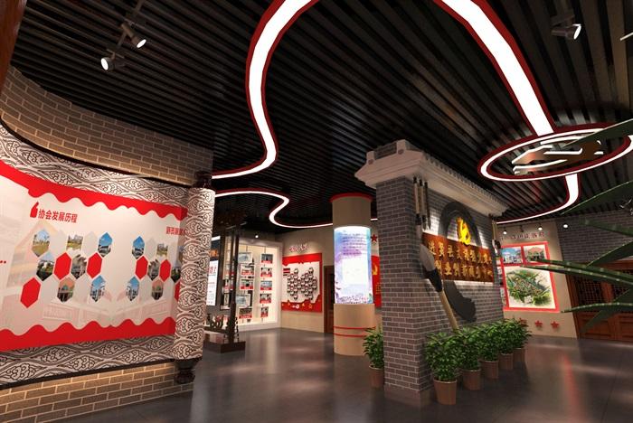 中式党建创业发展中心荣誉展厅设计方案3D模型(11)