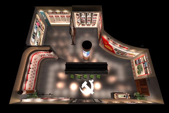 中式党建创业发展中心荣誉展厅设计方案3D模型(14)
