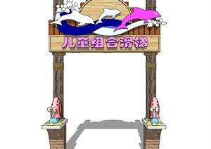 新中式標識牌門頭景區入口標識系統SU(草圖大師)模型