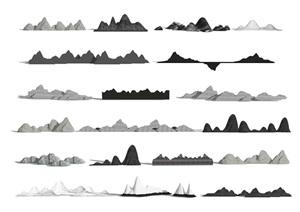 新中式 假山片石 假山 石头 叠石 片石 景观石SU(草图大师)模型