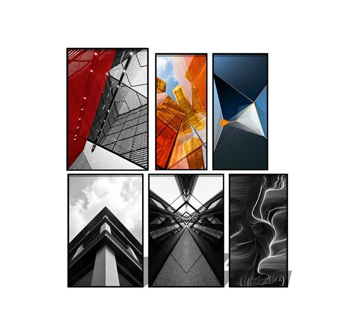 现代抽象装饰画 挂画su模型(1)