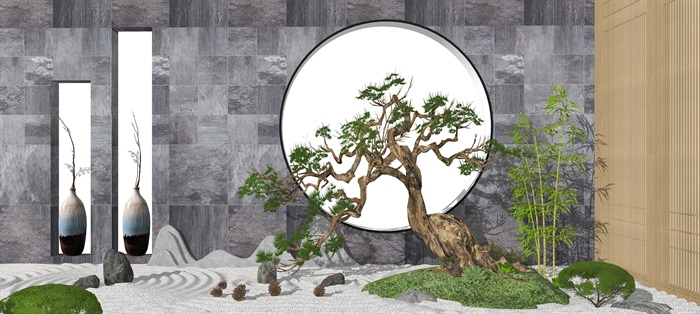 新中式景观小品枯山石SU模型(3)