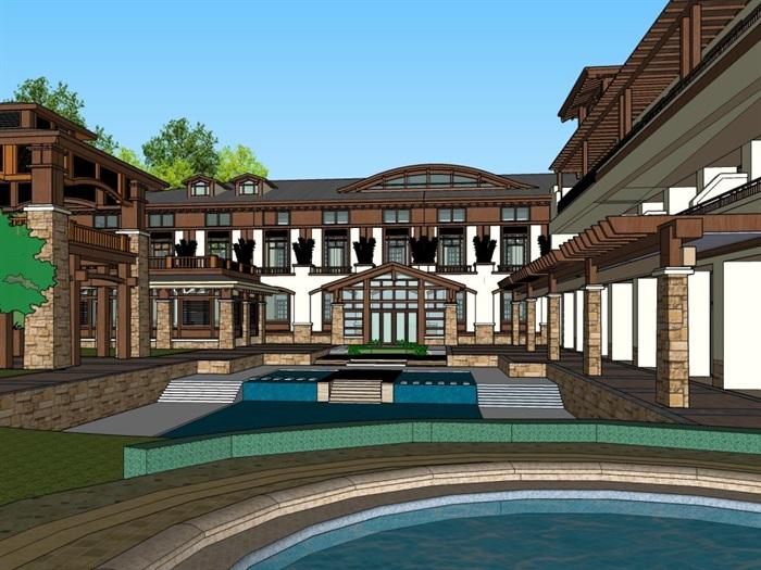 中式风格度假村酒店su精细帅模型(1)