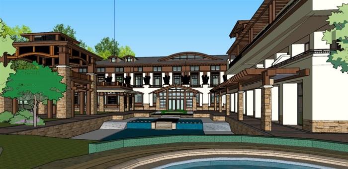 中式风格度假村酒店su精细帅模型(4)