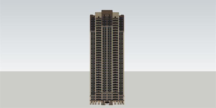 中式风格豪宅 高层 su精细帅模型(2)