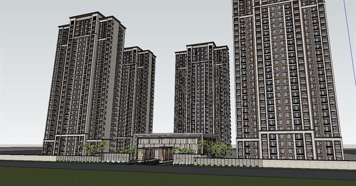 中式住宅小区su精细帅模型(4)