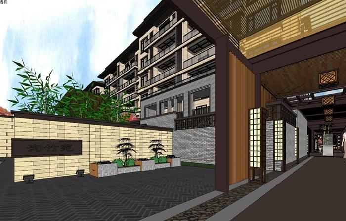 住宅新中式风格精细su精细帅模型(5)