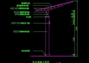 阳光板钢结构单臂廊架花架扩初图