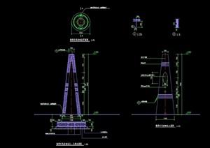 园林景观节点灯柱详细设计cad施工图