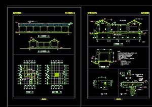 古典中式园林景观亭廊素材cad施工图