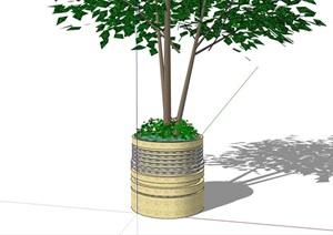 园林景观现代圆形种植树池设计SU(草图大师)模型