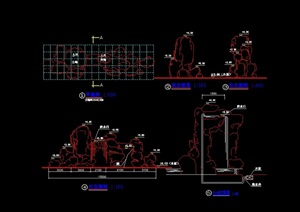园林景观节点假石设计cad施工图