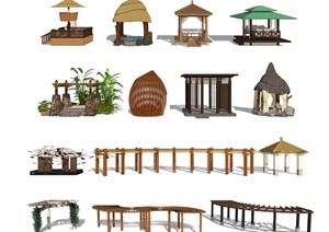 新中式景观亭子 景观亭 廊架 亭廊SU(草图大师)模型