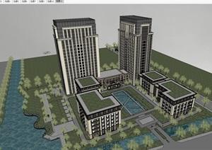 某欧式古典风格高层办公楼SU(草图大师)精细模型