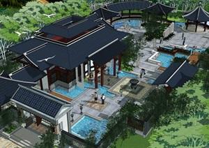 中式几个入口景观详细设计SU(草图大师)模型