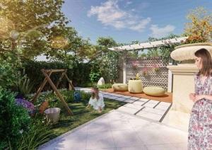 現代別墅庭院景觀設計SU(草圖大師)模型