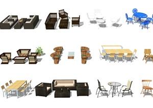 现代户外休闲桌椅组合SU(草图大师)模型