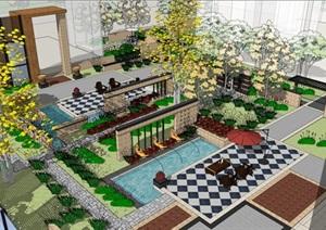 某詳細的住宅小區宅間景觀SU(草圖大師)模型