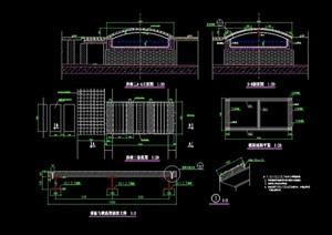 中式园林景观节点园桥设计cad施工图