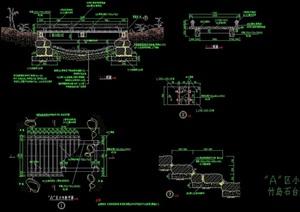 园林景观节点过河景观园桥设计cad施工图