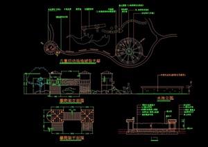 园林景观节点园桥素材设计cad施工图