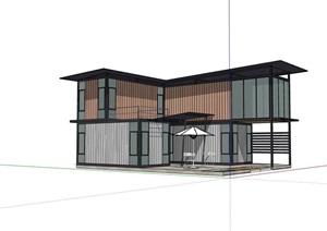 两层完整的集装箱别墅详细建筑设计SU(草图大师)模型