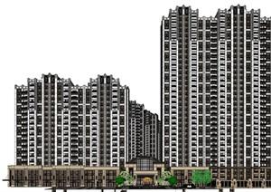 某古典風格居住區高層 沿街商業SU(草圖大師)精細模型