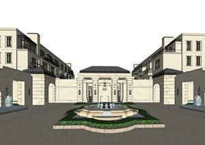 某古典风格售楼部示范区与洋房SU(草图大师)精细模型